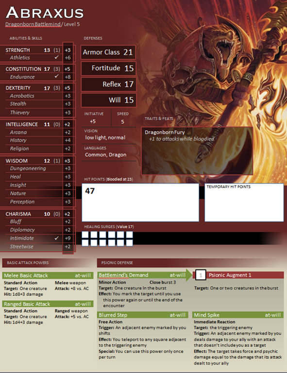 Custom Character Sheet Design : One page character sheets farmington d